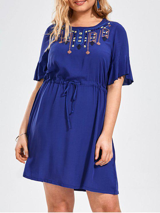 shop Plus Size Embroidered Belted Ruffles Dress - BLUE XL