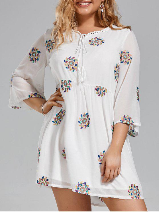 Vestido bordado bordado com rendas de tamanho grande - Branco 2XL