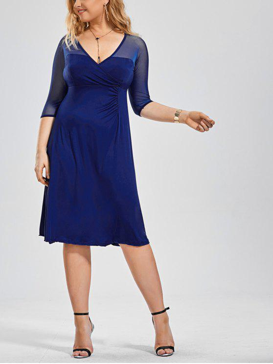 Vestido Voile Panel Plus Size Surplice - Azul 3XL