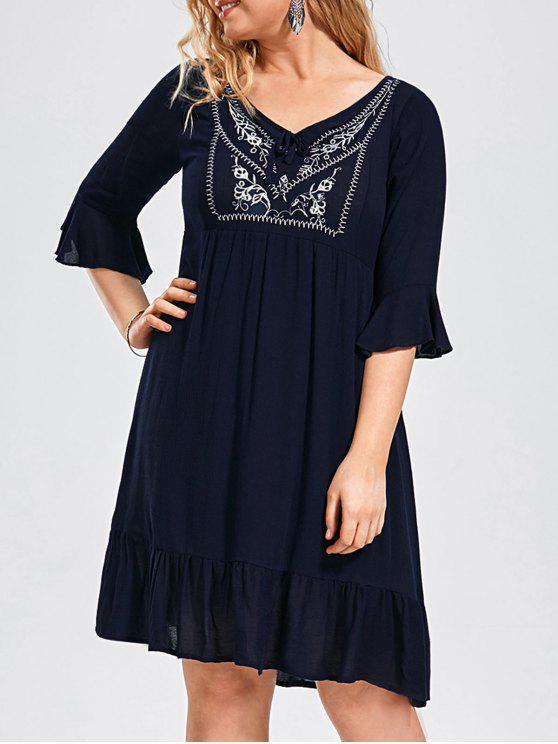 fashion Ruffled Embroidered Plus Size Dress - PURPLISH BLUE 3XL