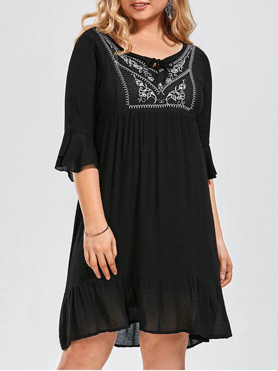 Ruffled Embroidered Plus Size Dress - Preto 3XL