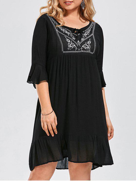 Ruffled bordado vestido de talla más - Negro XL