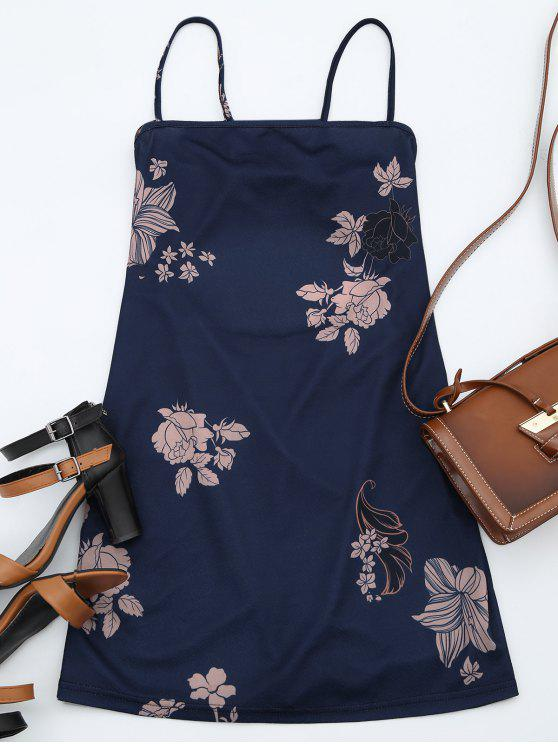 ladies Floral Print Backless Cami Dress - PURPLISH BLUE XL