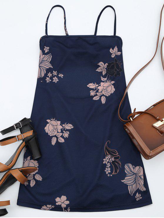 ladies Floral Print Backless Cami Dress - PURPLISH BLUE XL