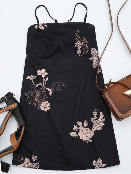 lady Floral Print Backless Cami Dress - BLACK XL