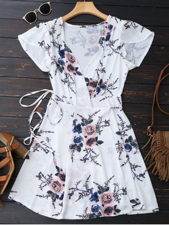 Mini vestido floral de la playa - Blanco S