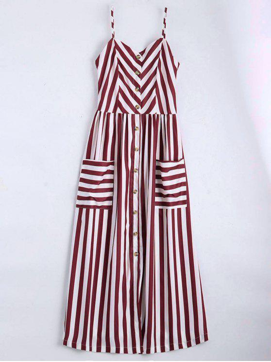 trendy Button Up Striped Cami Dress - DEEP RED S