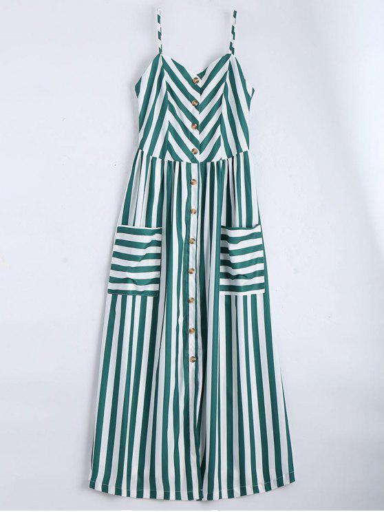 Vestido con Tirante Fino a Rayas con Botones - Verde negruzco M