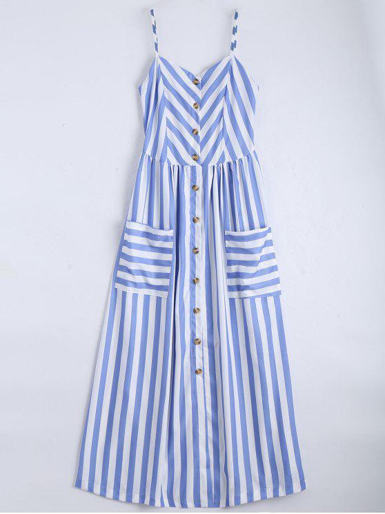 outfits Button Up Striped Cami Dress - LIGHT BLUE M