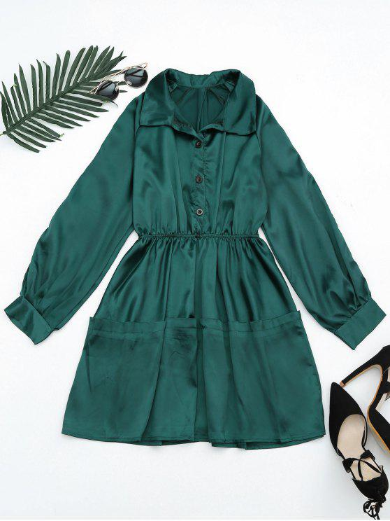 fancy Button Up Sleeve Cold Shoulder Shirt Dress - BLACKISH GREEN ONE SIZE