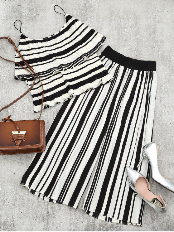 womens Tiered Flounce Striped Top and Pants Set - BLACK STRIPE S