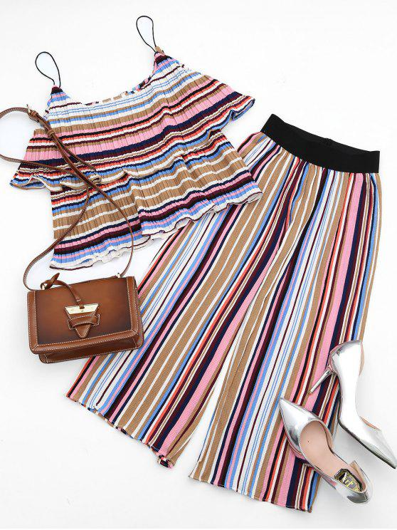 lady Tiered Flounce Striped Top and Pants Set - COLORFUL S