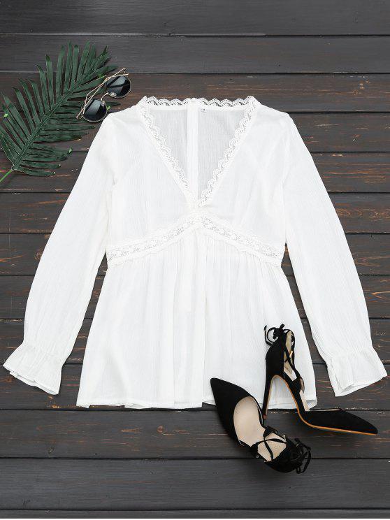 shop Plunging Neck Lace Panel Blouse - WHITE XL