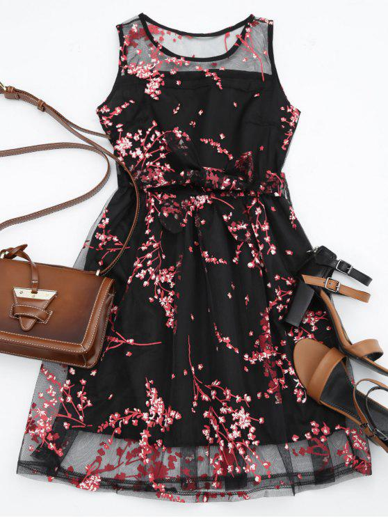 fashion Sleeveless Belted Floral Print Dress - RED M