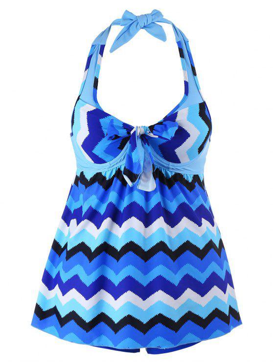 women Zigzag Print Halter Plus Size Tankini Set - BLUE 2XL