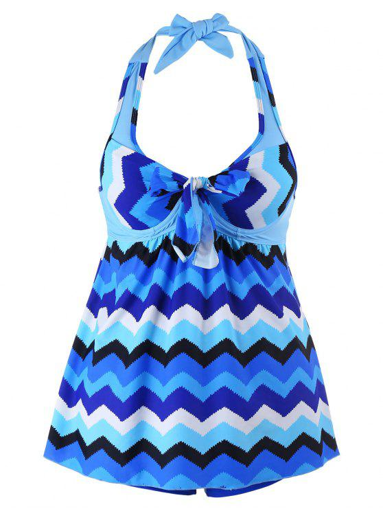 Zigzag Print Halter Plus Size Tankini Set - Bleu 5XL