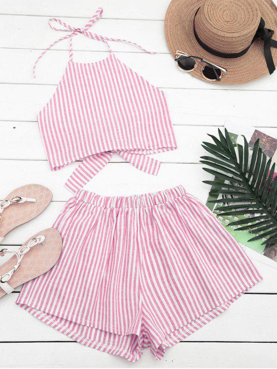 outfits Halter Striped Two Piece Suit - RED AND WHITE L