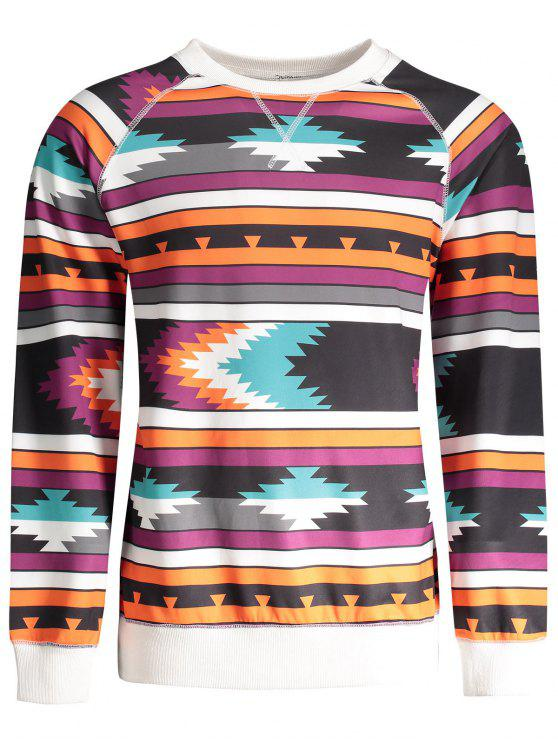 Sweat à capuche tribal à manches longues Raglan - Multicolore M