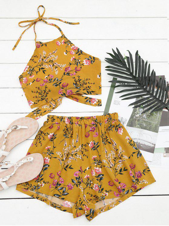 latest Halter Floral Crop Top with Shorts - YELLOW L