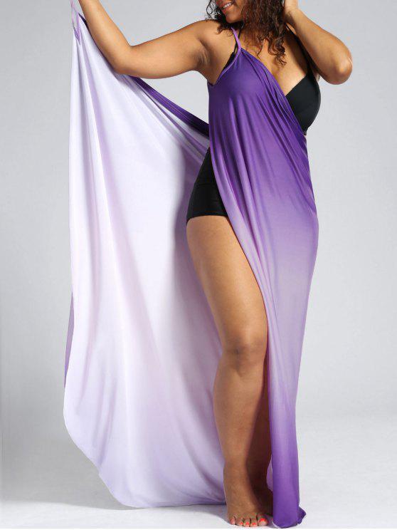 Ombre Plus Size Wrap Cover Up Maxi Dress - Pourpre 2XL