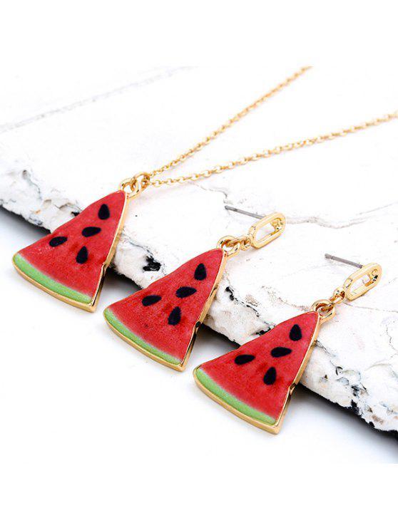 Collier et boucles d'oreilles en forme de pastèque triangulaire mince - Rouge
