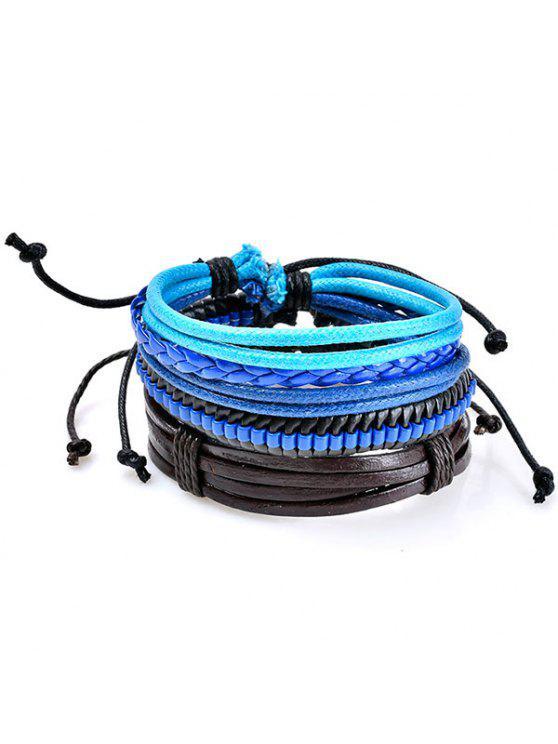 Braccialetti Tessuti In Pelle Sintetica Con Perline Vintage - Blu