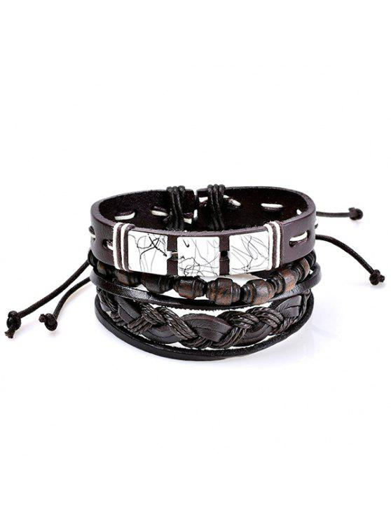 Faux Leather Layered pulseras tejidas amistad Set - Café