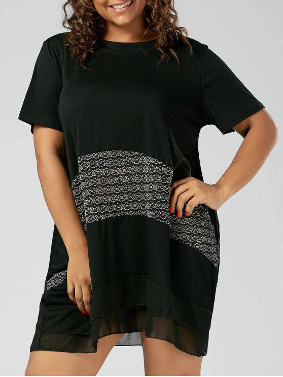 8f98b9725a3d 32% OFF] 2019 Ruffle Chiffon Trim Plus Size T-shirt Dress In BLACK ...
