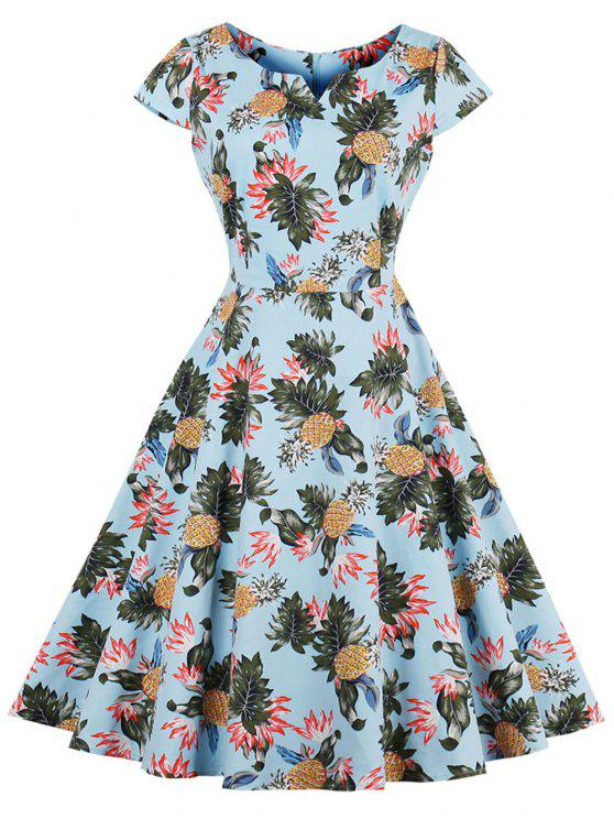 Pineapple Print A Line Plus Size Vintage Dress