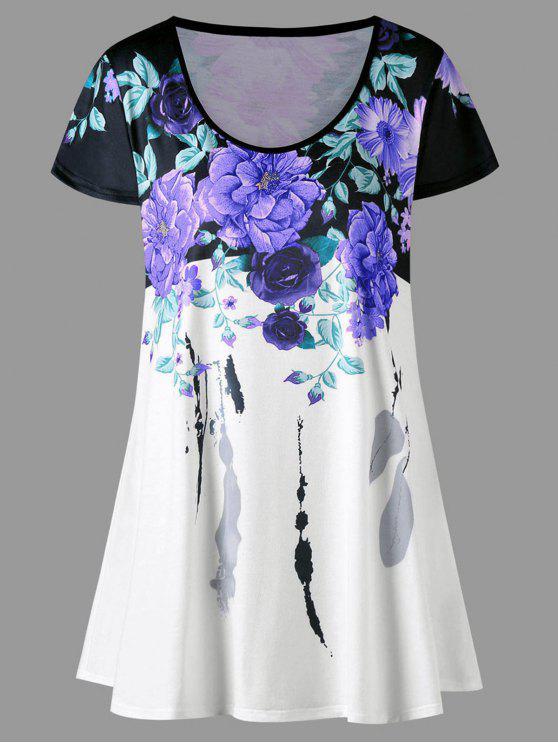 fancy Plus Size Floral Longline T-shirt - PURPLE XL
