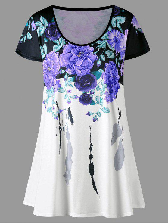 new Plus Size Floral Longline T-shirt - PURPLE 5XL