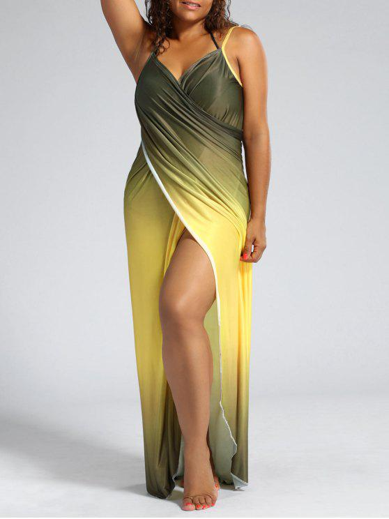 latest Ombre Plus Size Wrap Cover Up Maxi Dress - YELLOW XL