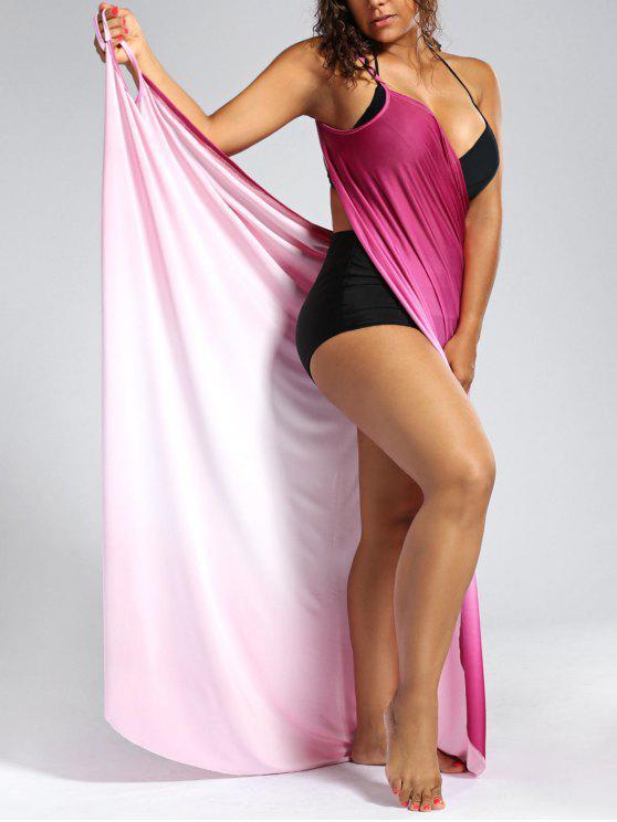 أومبير زائد الحجم التفاف التستر ماكسي اللباس - زهري 5XL