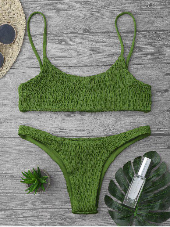 Top et Bas de Bikini Smockés - Herbe Verte S