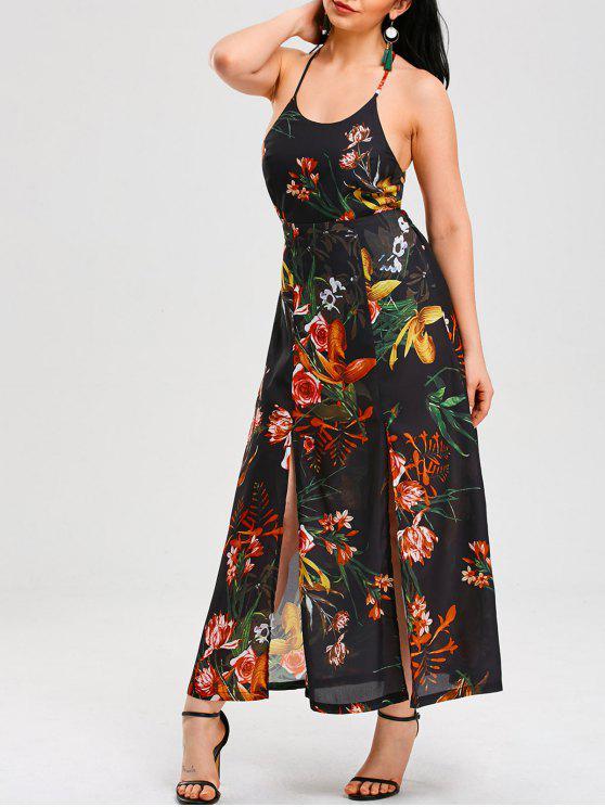 فستان عارية الظهر رسم الرقبة - مزيج ملون XL