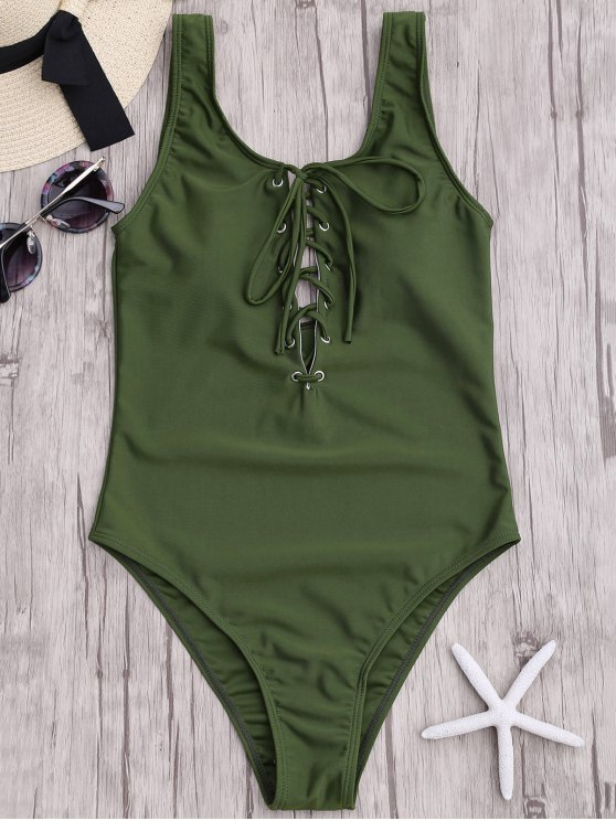 new Lace Up Slimming One Piece Swimsuit - ARMY GREEN L