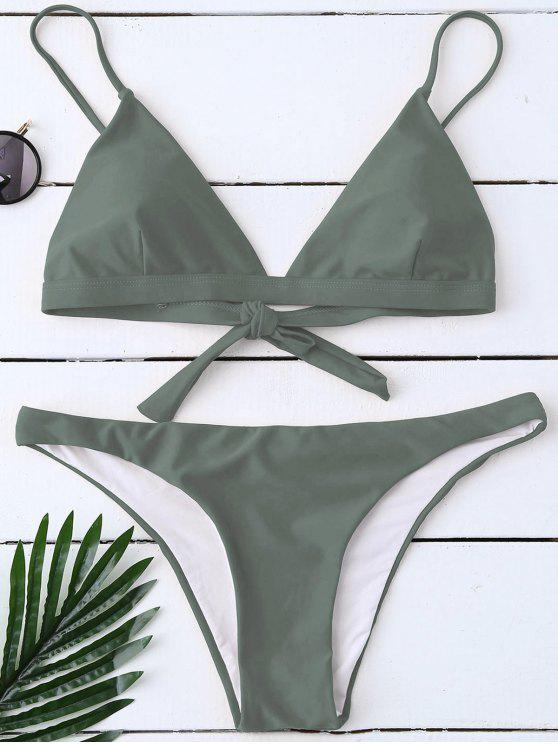 sale Padded Back Tied Bikini Swimwear - ARMY GREEN L