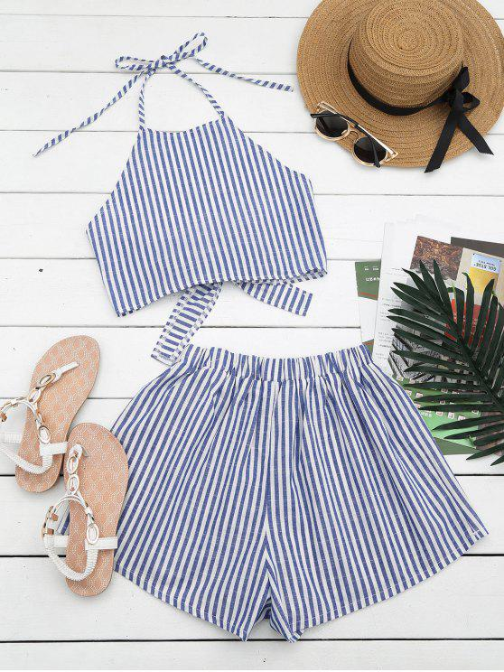 online Halter Striped Two Piece Suit - BLUE AND WHITE M