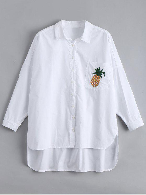 fancy Pocket High Low Pineapple Embroidered Shirt - WHITE L