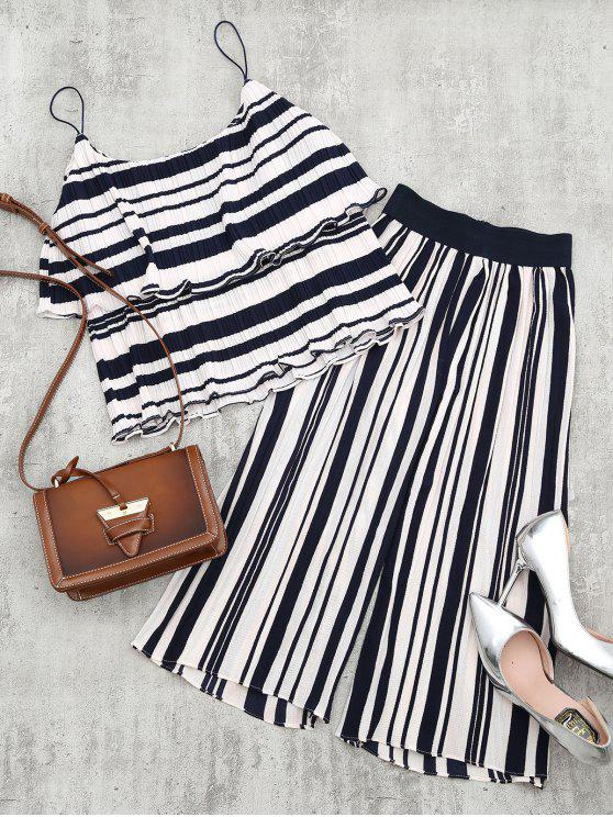 chic Tiered Flounce Striped Top and Pants Set - BLUE STRIPE M