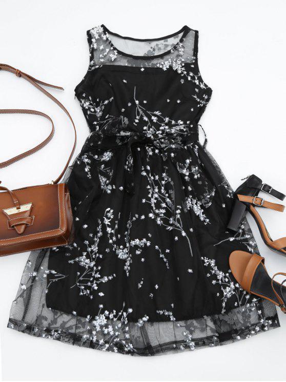 Vestido sem manga renda transparente com bordados florais + cinto - Branco L
