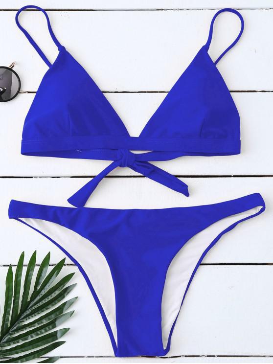 Gepolsterter Rücken Gebunden Bikini Bademode Set - Blau XL