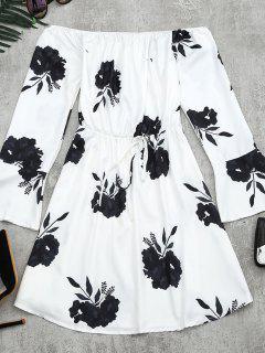 Blumen Druck Langarm Kleid - Schwarz L