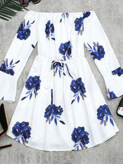 Floral Print Long Sleeve Dress - Blue L