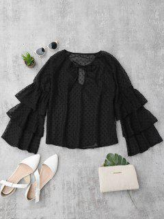 Semi Sheer Plumetis Bell Sleeve Beach Top - Black S