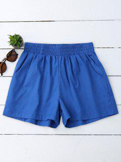 Casual High Waisted Shorts - Blue S