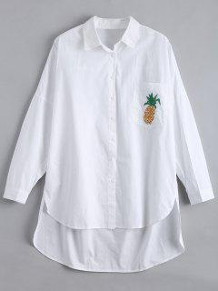 High Low Pineapple Embroidered Boyfriend Shirt - White L