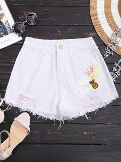 Patched Pineapple Sequined Ripped Denim Shorts - White