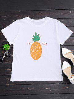 Pineapple Print Rhinestone T-shirt - White