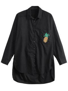 High Low Pineapple Embroidered Boyfriend Shirt - Black M
